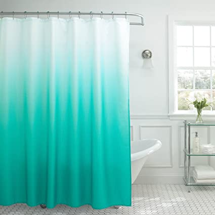 Creative Home Ideas Ombre Textured Shower Curtain With Beaded Rings Turquoise