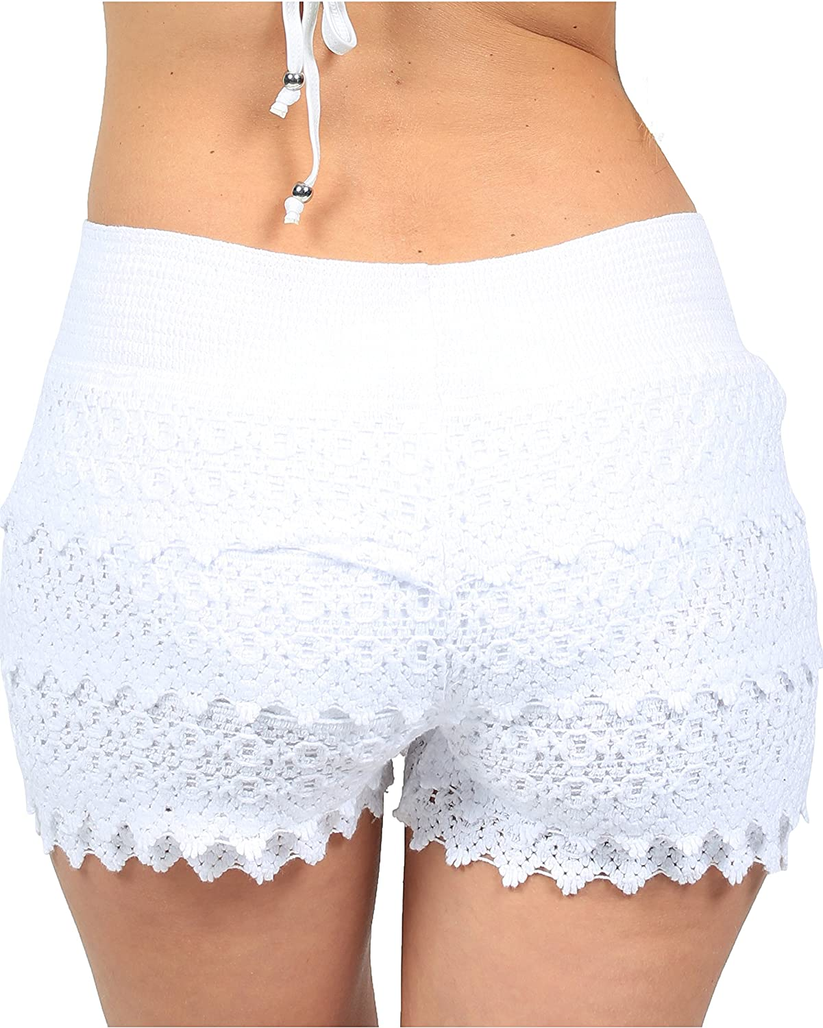 Cotton Natural Women\'s Lace Crochet Shorts Beach Miniskirts (Small ...