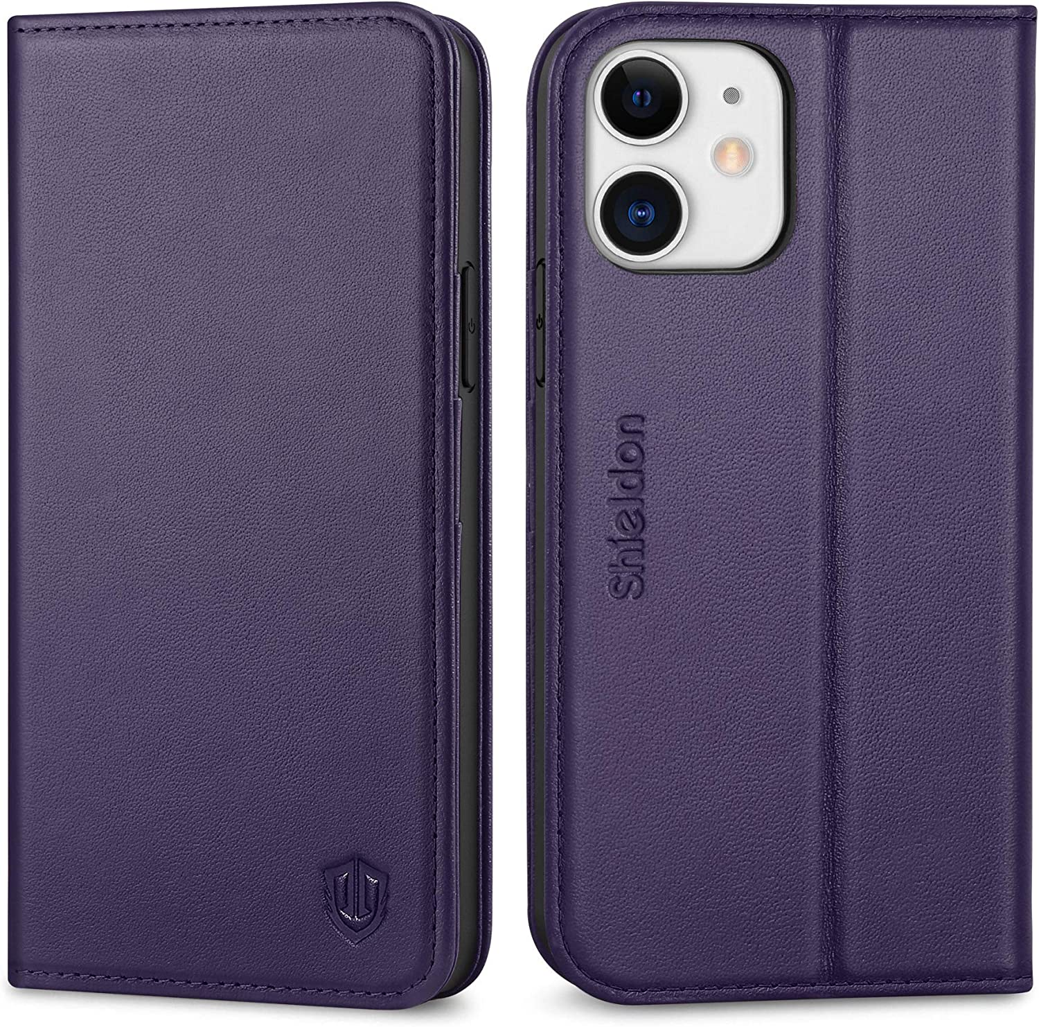 SHIELDON Case for iPhone 12/12 Pro 5G, Genuine Leather Wallet Case Magnetic Kickstand RFID Blocking Card Slots Full Protection Cover Compatible with iPhone 12 Pro 5G (6.1 Inch) - Dark Purple