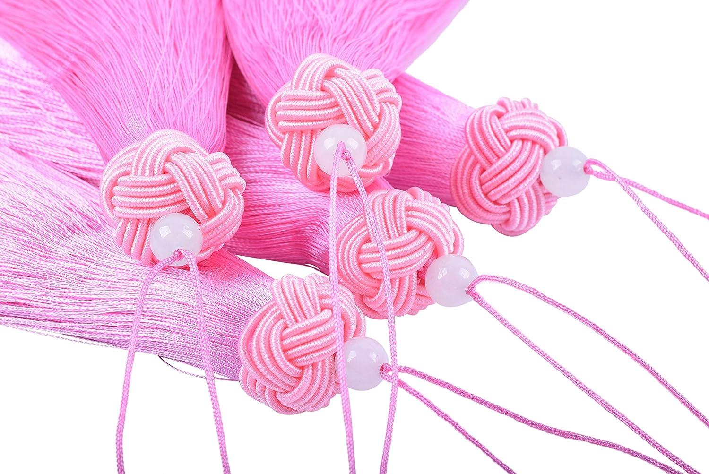 Handmade Imitation Silk Tassels with Threaded Cap and Jade Beads KONMAY 5pcs 3.8 Red 9.5cm