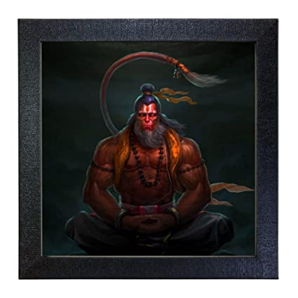 Sehaz Artworks 'Lord Hanuman' Wall Photo Painting (Vinyl, 30 cm x 30 cm x 3 cm, Black)