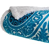 Bedford Home Printed Coral Soft Fleece Sherpa Throw Blanket, Blue