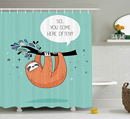 Ambesonne Animal Decor Shower Curtain Cartoon Design Print Sloth With A Flirty Quote So