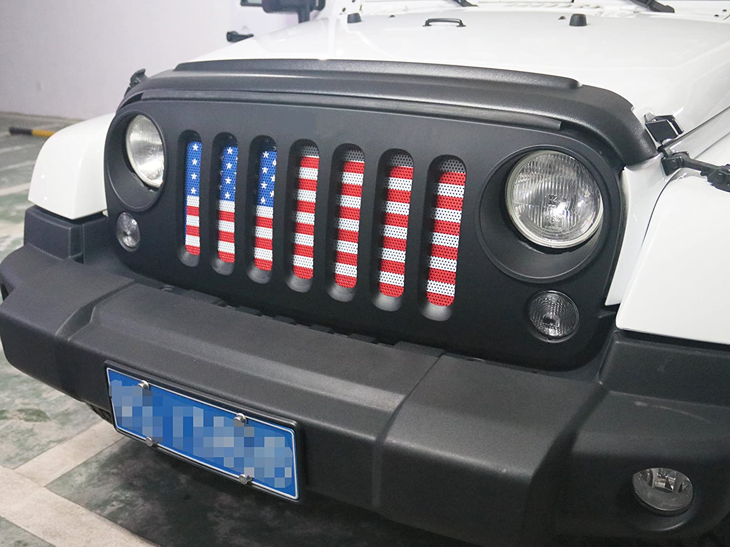 MOEBULB Front Grill Insert Steel American Flag Mesh Grille for 2007-2018 Jeep Wrangler JK /& Unlimited 2//4 Door White and Black, Without Key Hole