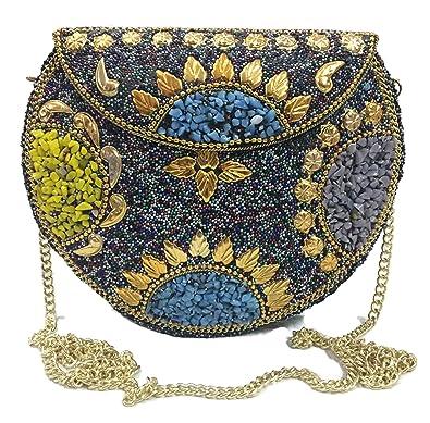 e2378b7f7 Trend Overseas Metal Bag Multi Colour Beads Clutch Wallet Metal ...