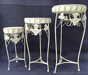 Antique Roman Style White Round Stand Planter, Shabby Chic, Art Deco In Wrought  Iron