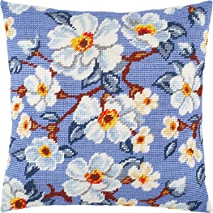Apple Bloom. Needlepoint Kit. Throw Pillow 16×16 Inches. Printed Tapestry Canvas, European Quality