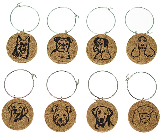 Cork Wine Glass Charms (20+ Unique Designs) - Set of 8 - Dog Inspired Designs: Lab, Golden Retriever, Yorkie, Poodle, Cocker Spaniel, Boxer, GSD, Bulldog - Tags to Mark Your Drink (Dogs)