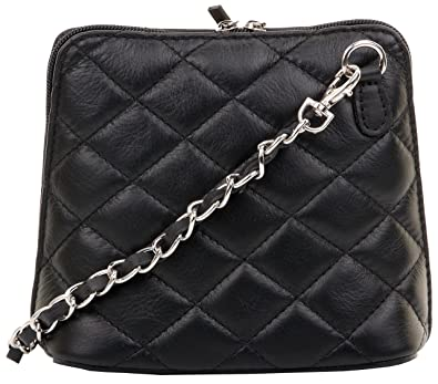 be437286dbc Primo Sacchi Italian Black Quilted Leather Small Micro Shoulder Bag Handbag