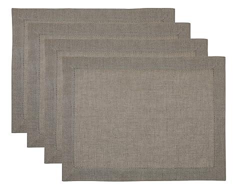 SweetNeedle - 4er-Pack - 100% reine Leinen-Designer-Leiter Lace Hemstitched Tischset 35 CM x 48 cm (14 IN x 19 IN) in natürli