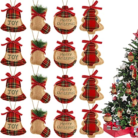 16 Piezas De Adornos De árbol De Navidad Para Colgar En Navidad Decoración De Arpillera Adornos De Navidad Para Decoración De Navidad Juego De 3 Colores Kitchen Dining