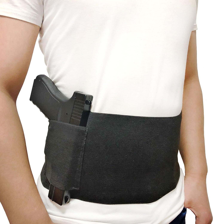 DecoDeco Funda para Pistola de Banda, elástico Belly Band Holster Airsoft Oculto, para Pistolas Revólveres, M/L