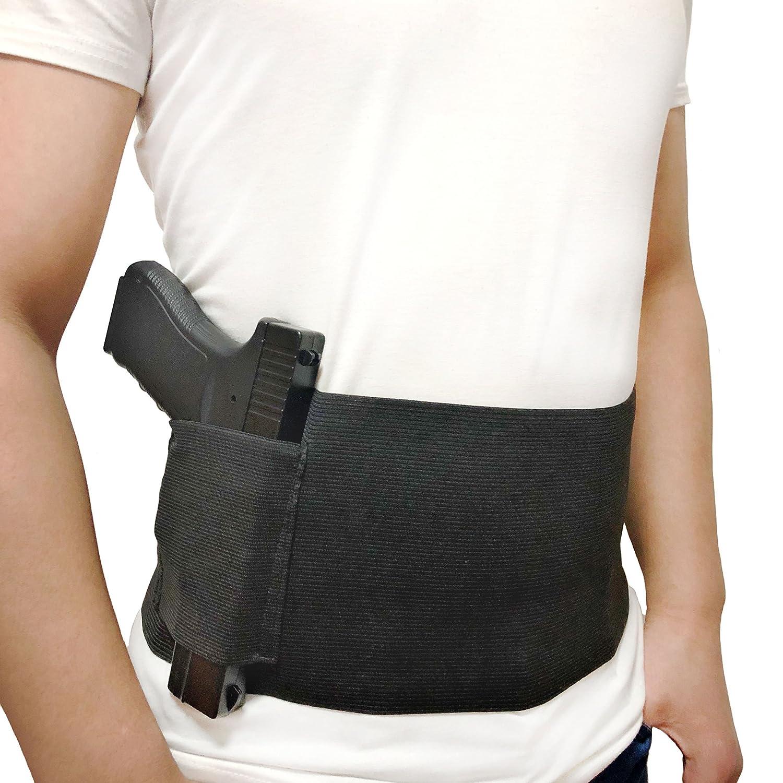 DecoDeco Belly Band Holster para Carry Oculto, con Revista Pocket Waist Band Handgun, Holder Elastic Hand para Pistolas Revólveres para Hombres y Mujeres Negro