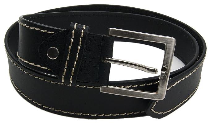 Ceinture en cuir noir avec boucle de ceinture en argent   cuir ceinture 4cm  largeur   189450cbe28