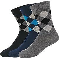 NAVYSPORT Men's Business Formal Argyle Cotton Socks (Multicolour) - Pack of 3