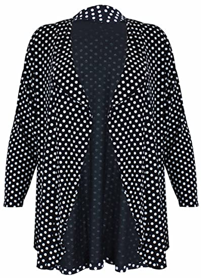 Womens Ladies New Spot Print Pattern Long Sleeve Polka Dot Front Open Knit Cardigan  Top Plus Size  Amazon.co.uk  Clothing 0cef60738