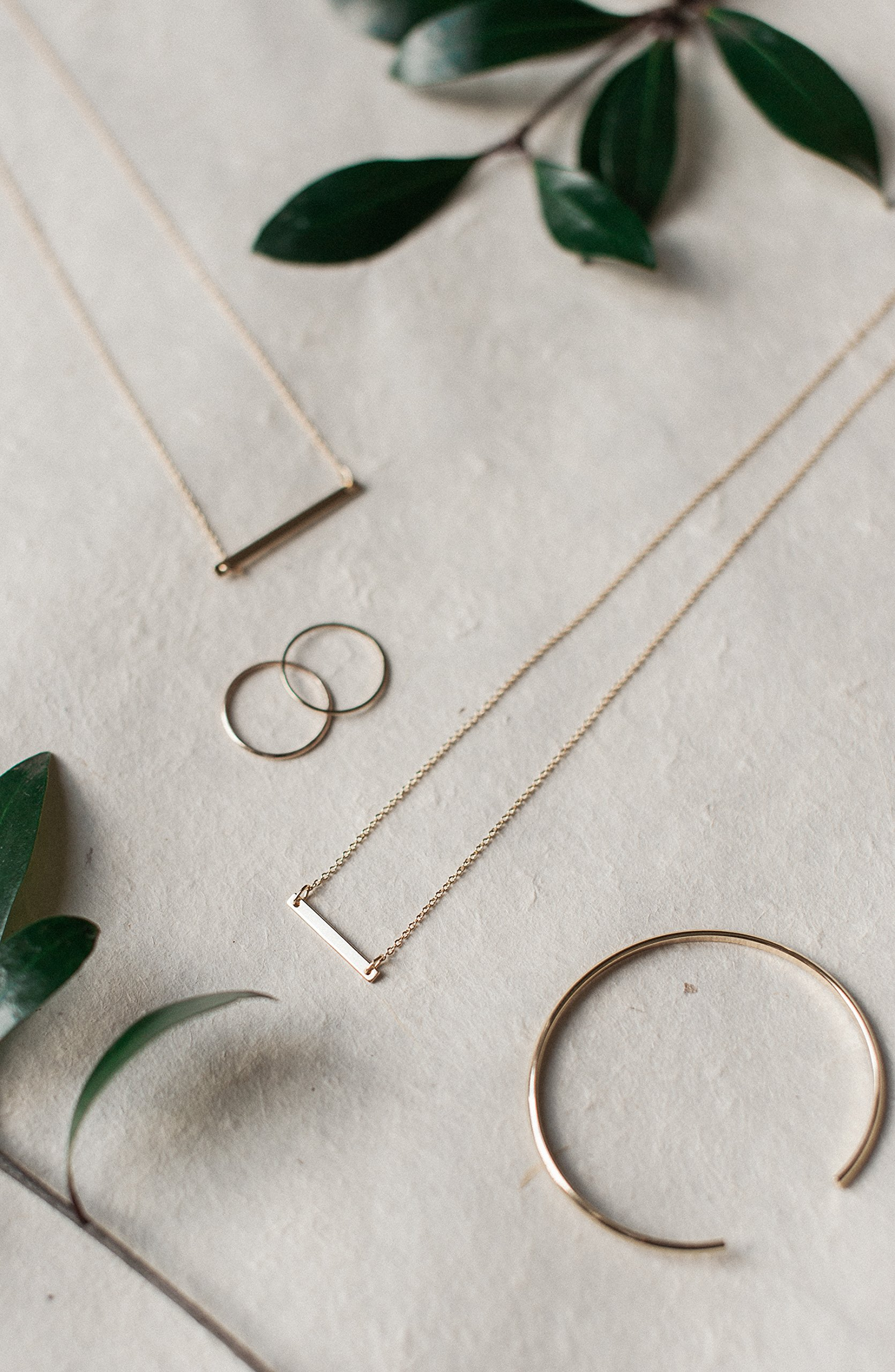 HONEYCAT 24k Gold Plated, 18k Rose Gold Plated, or Silver Classic Horizontal Bar Necklace | Minimalist, Delicate Jewelry (Silver) by HONEYCAT (Image #5)