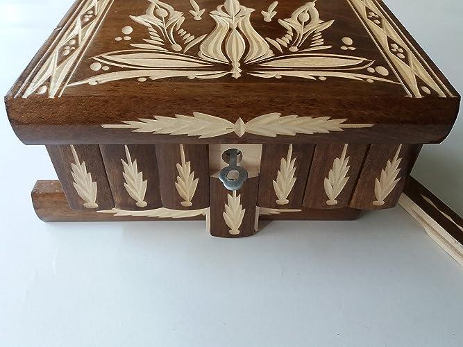 Nuevo gran caja puzzle de color marrón rompecabezas de madera, caja secreta, caja mágica