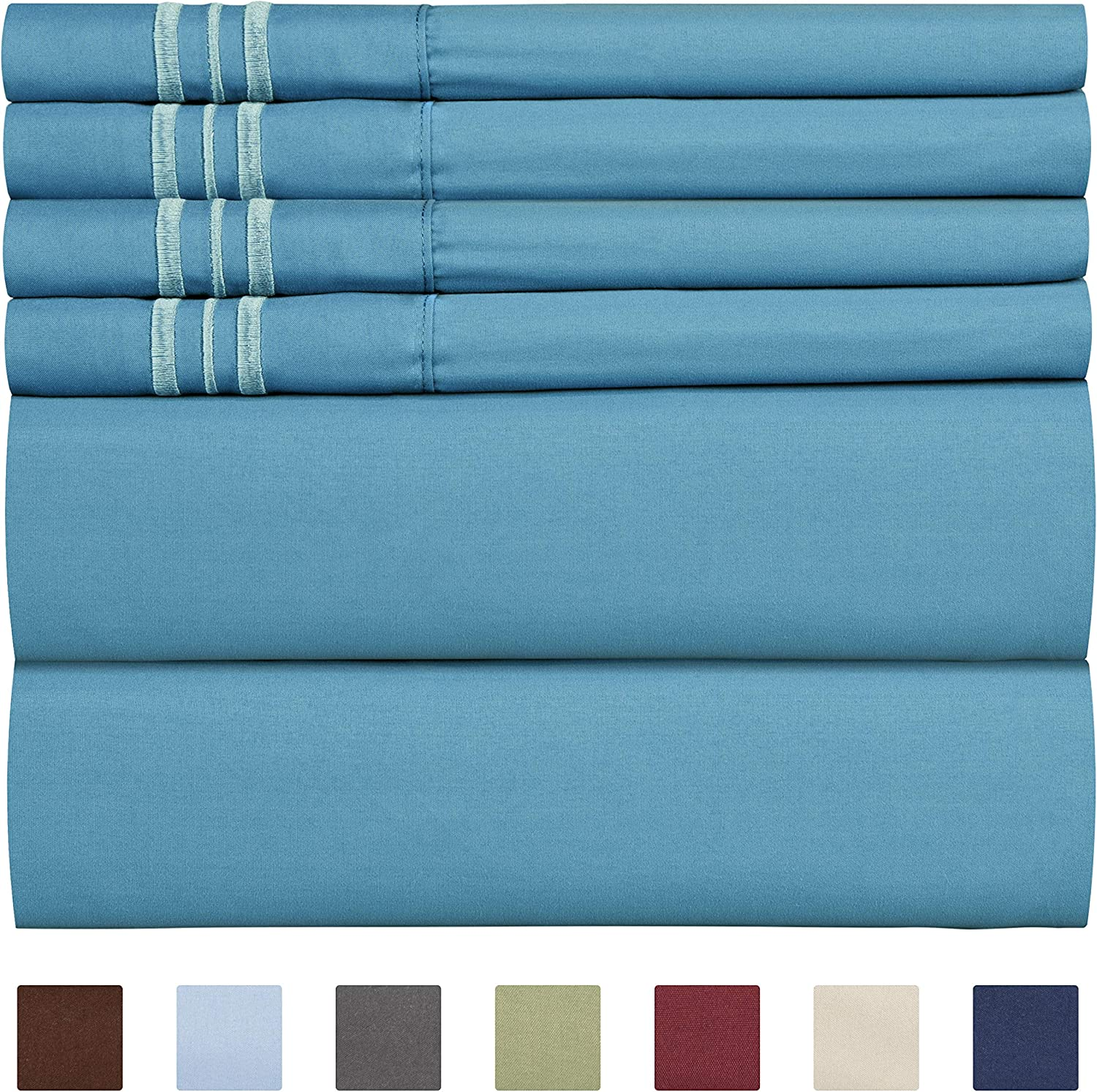 Full Size Sheet Set - 6 Piece Set - Hotel Luxury Bed Sheets - Extra Soft - Deep Pockets - Easy Fit - Breathable & Cooling Sheets - Wrinkle Free - Comfy – Denim Blue Bed Sheets - Fulls Sheets - 6 PC