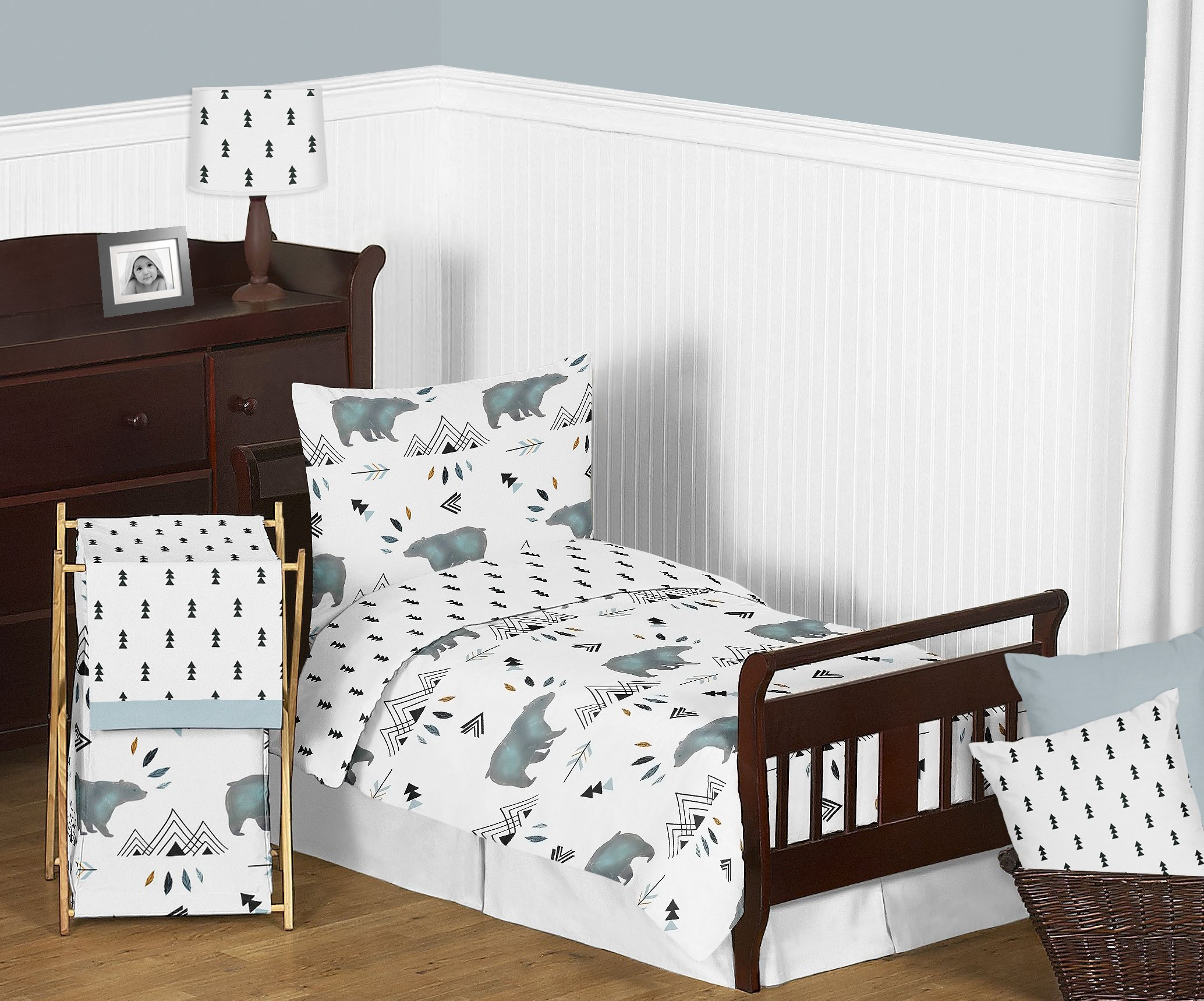Sweet Jojo Designs 5-Piece Bear Mountain Watercolor Boy Toddler Kid Childrens Bedding Set s Comforter, Sham and Sheets