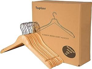 Topline Classic Wood Shirt Hangers - Natural Finish (10-Pack)