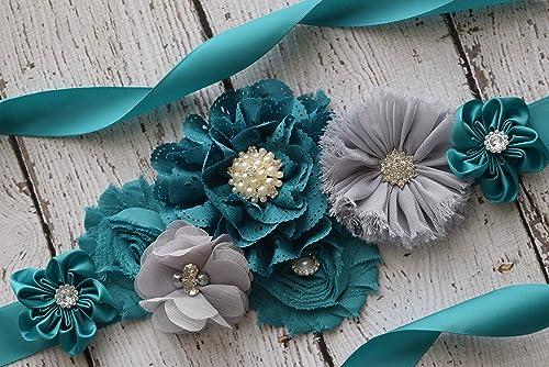 maternity sash Maternity Sash flower Belt wedding sash teal blue white Sash