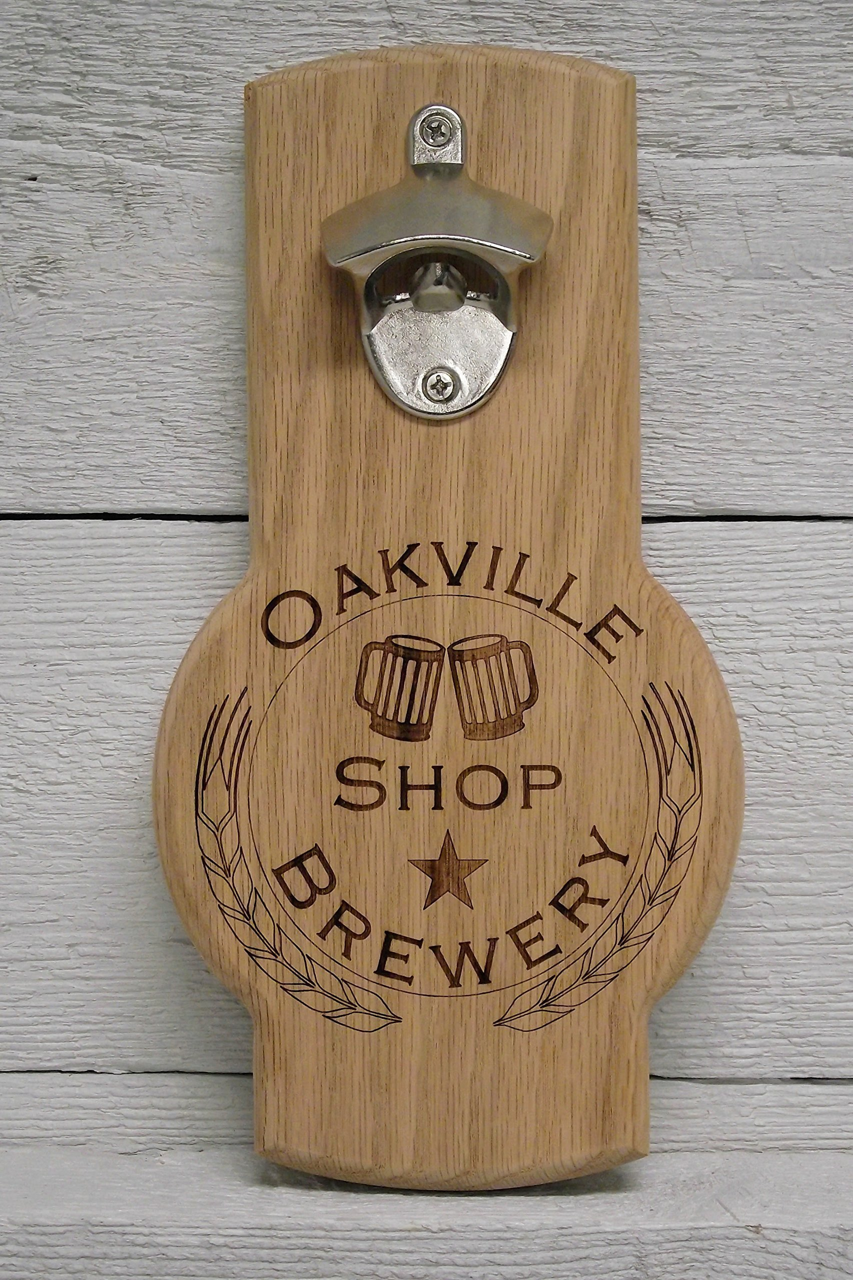 Wall mounted beer bottle opener personalized custom engraved logo. Great gift, for home bar, restaurant, brewery.