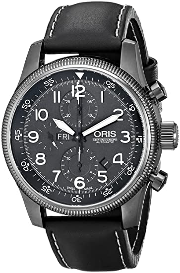 Oris hombre 67576484234ls gran corona pantalla analógica Swiss – Reloj automático negro