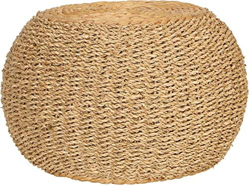 Creative Co-op 10″ H Handwoven Seagrass Water Hyacinth Pedestal Pouf