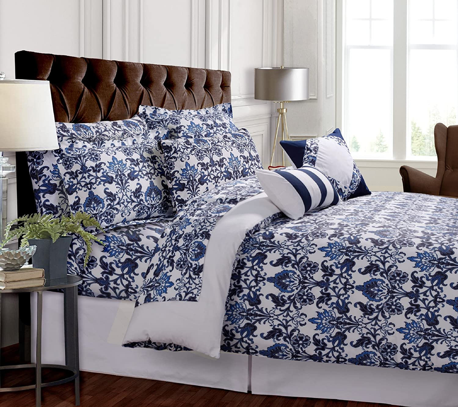 TRIBECA LIVING Catalina 5-Piece Egyptian Cotton Percale Printed Duvet Cover Set King Marwah Corporation CATL5PDSKI