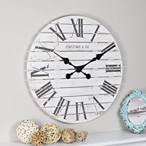 "FirsTime & Co. 10066 Shiplap Wall Clock, 18"", White"