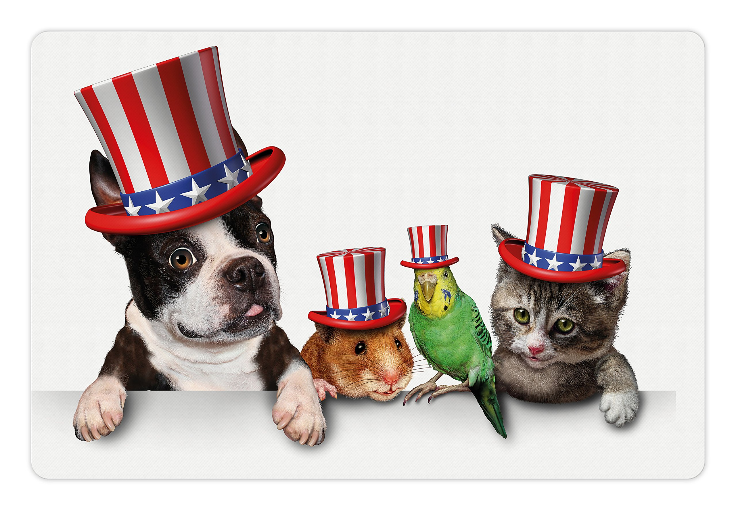 Ambesonne Fourth of July Pet Mat for Food and Water, Cute Pet Animal Dog Cat Bird and Hamster with American Hat Celebration Image, Rectangle Non-Slip Rubber Mat for Dogs and Cats, Multicolor