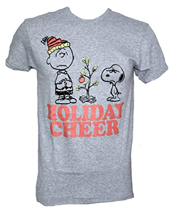 peanuts charile brown christmas tree snoopy christmas cheer t shirt large heather grey - Snoopy Christmas Shirt