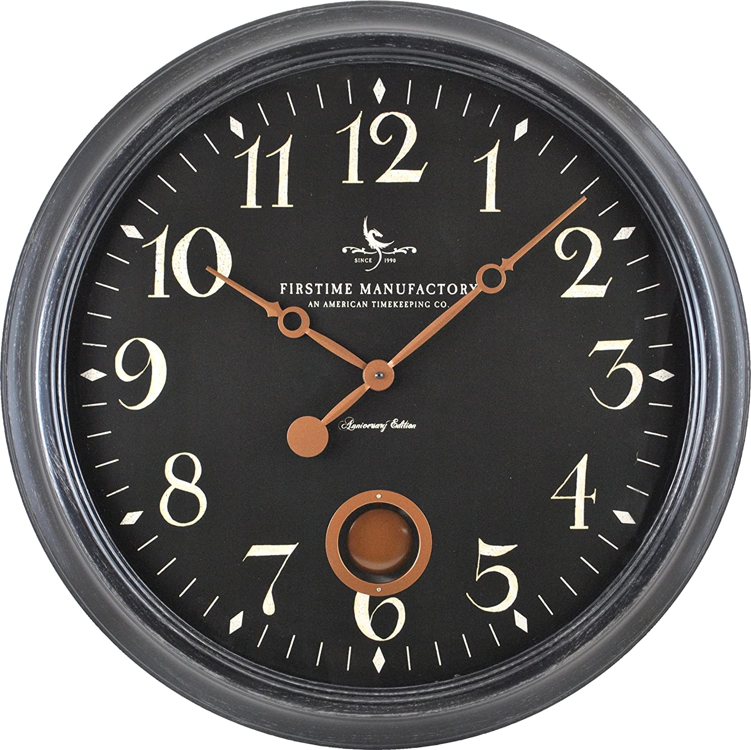 FirsTime Co. 25628 FirsTime Varenna Wall Clock, 24 , Distressed Black
