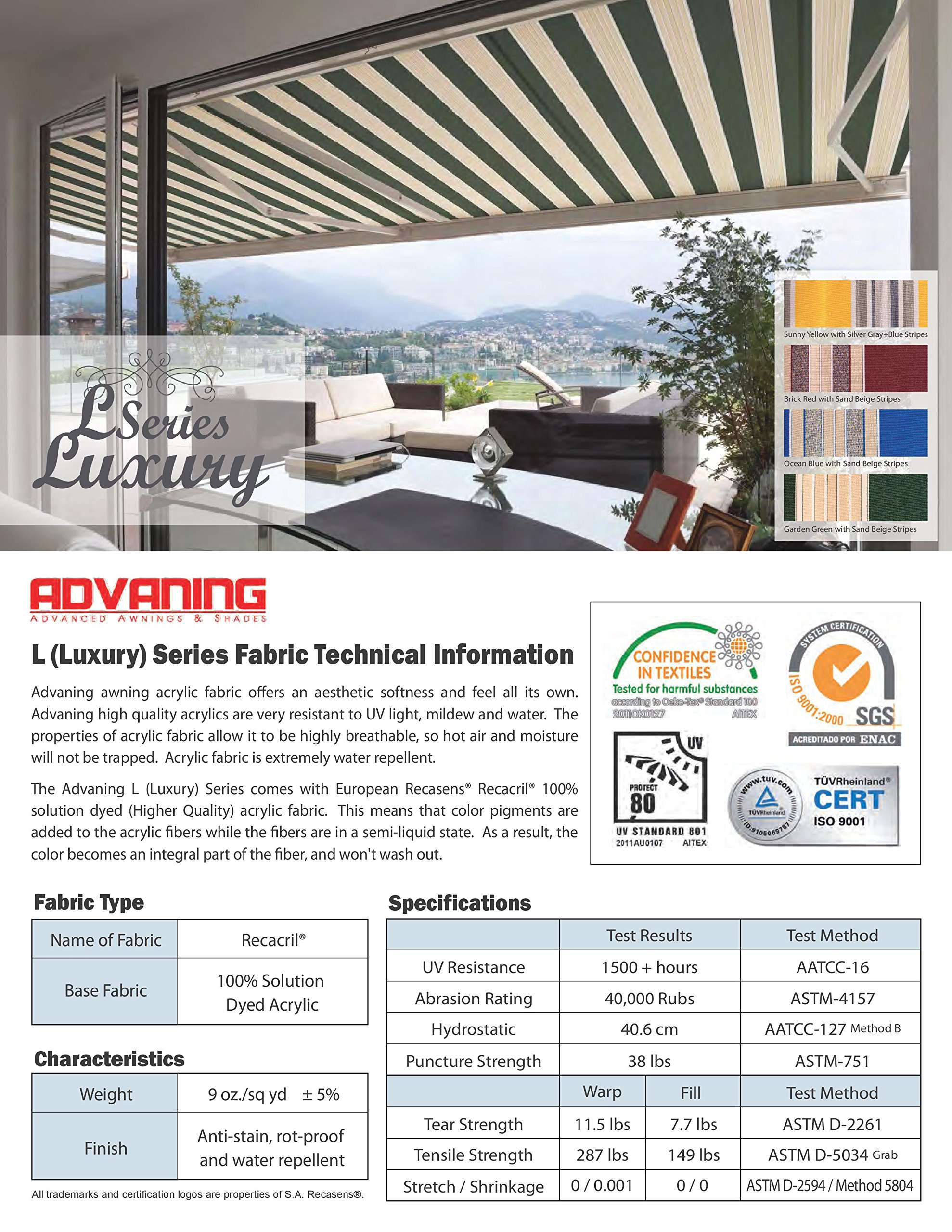 ADVANING Electric Luxury L Series, 12'x10', Semi-Cassette Top Quality Window/Door Cloth Cover Canopy Sun Shade Retractable Patio Awning, Garden Green with Sand Beige Stripes, Model: EA1210-A808H2 by ADVANING (Image #10)