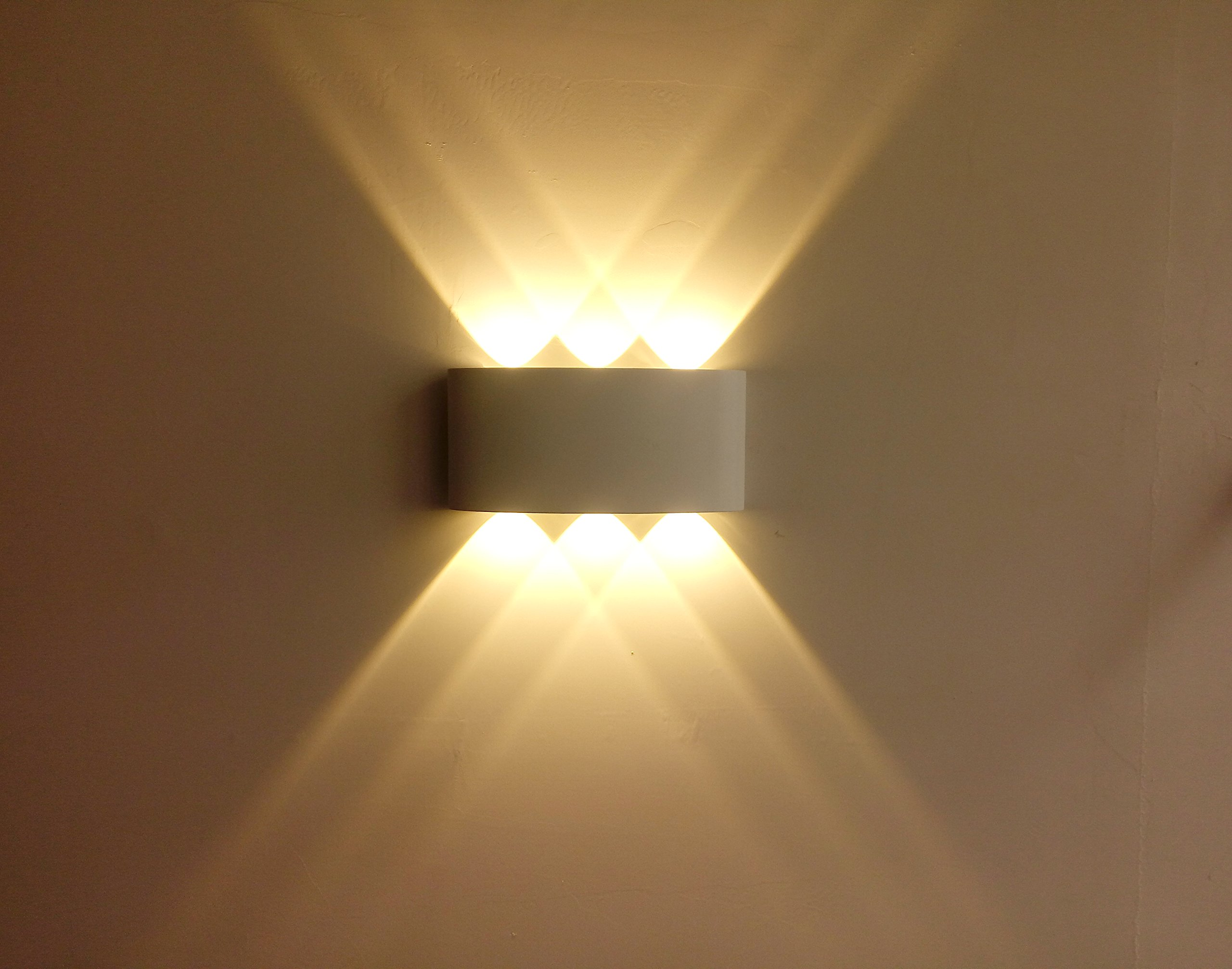 LED Outdoor Wall Sconce Aluminum Waterproof Wall Lighting IP65 6W Outdoor Wall Light Warm White, White housing