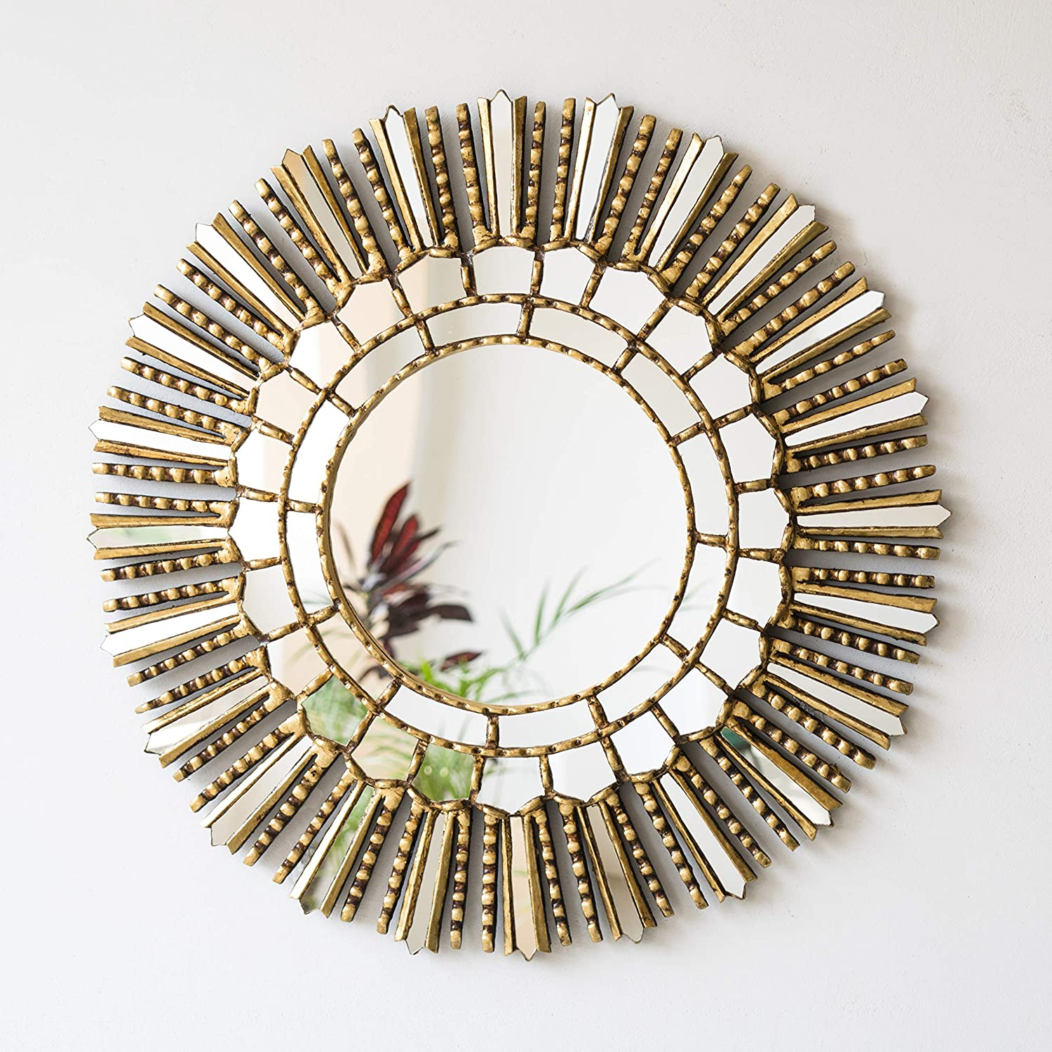 Amazon Com Decorative Round Sunburst Mirror Wall Decor 23 6in Peruvian Wall Accent Mirror Painting On Glass Hanging Wall Mirror For Living Room Gold Sun Handmade
