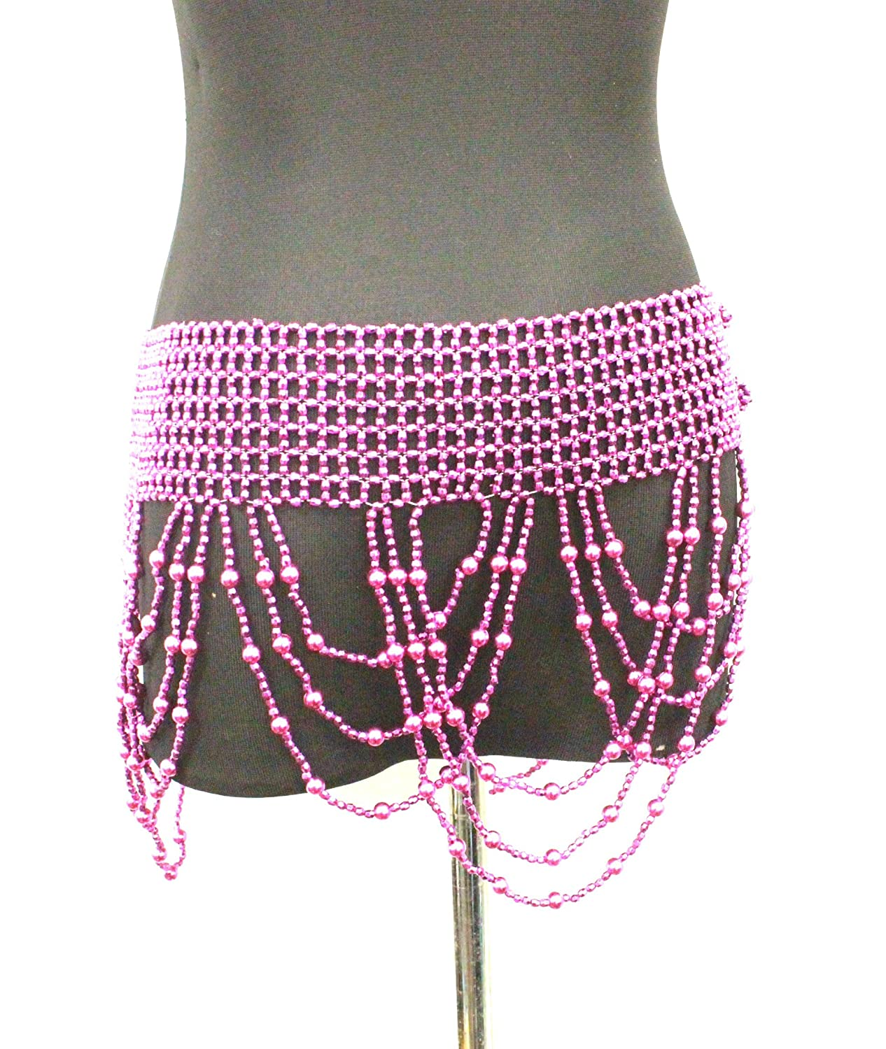 Belly Dancing Beaded Hip Wrap Belt -purple