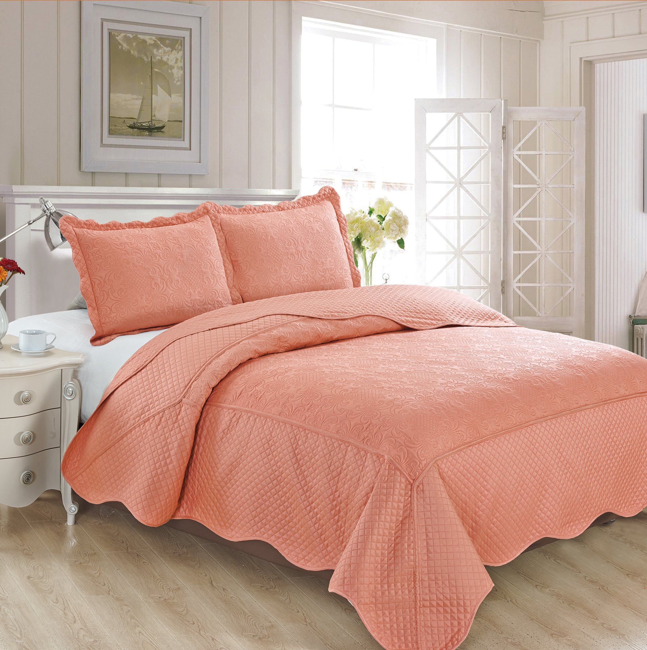Fancy Collection 3pc Luxury Bedspread Coverlet Embossed Bed Cover Solid New Over Size #Veronica (Coral, Full/Queen)