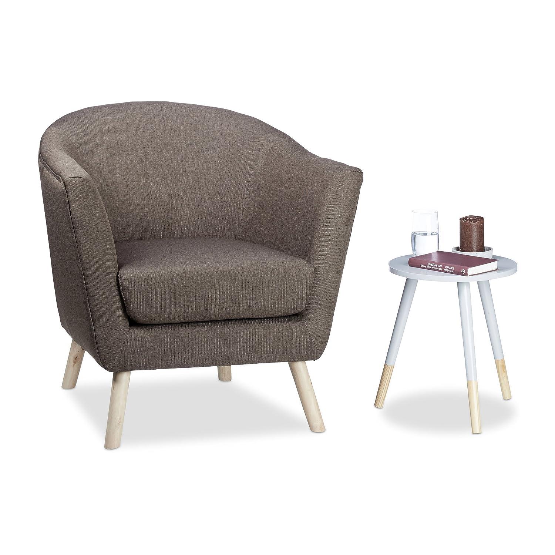 Relaxdays brown round retro armchair scandinavian design soft comfortable cocktail chair hxwxd 81 x 78 x 70 cm amazon co uk kitchen home