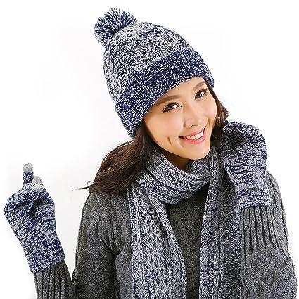 DTBG Guantes de punto Beanie y bufanda de invierno Conjunto Cálido grueso  moda Sombrero Manoplas 3 f54680a6e27