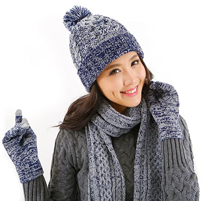 9109ee01fba Amazon.com  DTBG Knitted Beanie Gloves   Scarf Winter Set Warm Thick  Fashion Hat Mittens 3 in 1 Cold Weather For Women  Sports   Outdoors