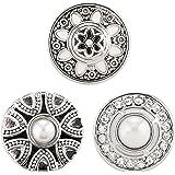 Morella® Damen Click-Button 3 Stück Druckknöpfe Set Perlen und Zirkoniasteine