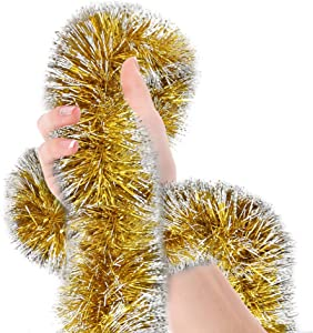 Christmas Tree Gold Frost Tip Tinsel Garland Gold White Edge Metallic Streamers Celebrate a Holiday New Years Eve Happy Party Ceiling Hanging Decorations Indoor and Outdoor Disco Party Supplies