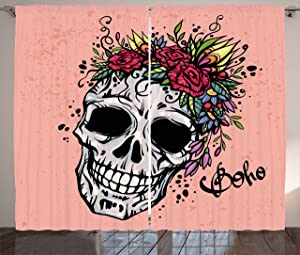Ambesonne Rose Curtains, Day of The Dead Inspired Design of a Skull with Floral Wreath Boho Style, Living Room Bedroom Window Drapes 2 Panel Set, 108