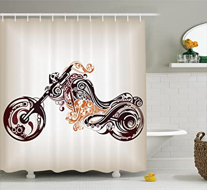 Ambesonne Manly Decor Shower Curtain Set Motorbike Shape With Decorative Curvy Lines Floral Ornamental Design