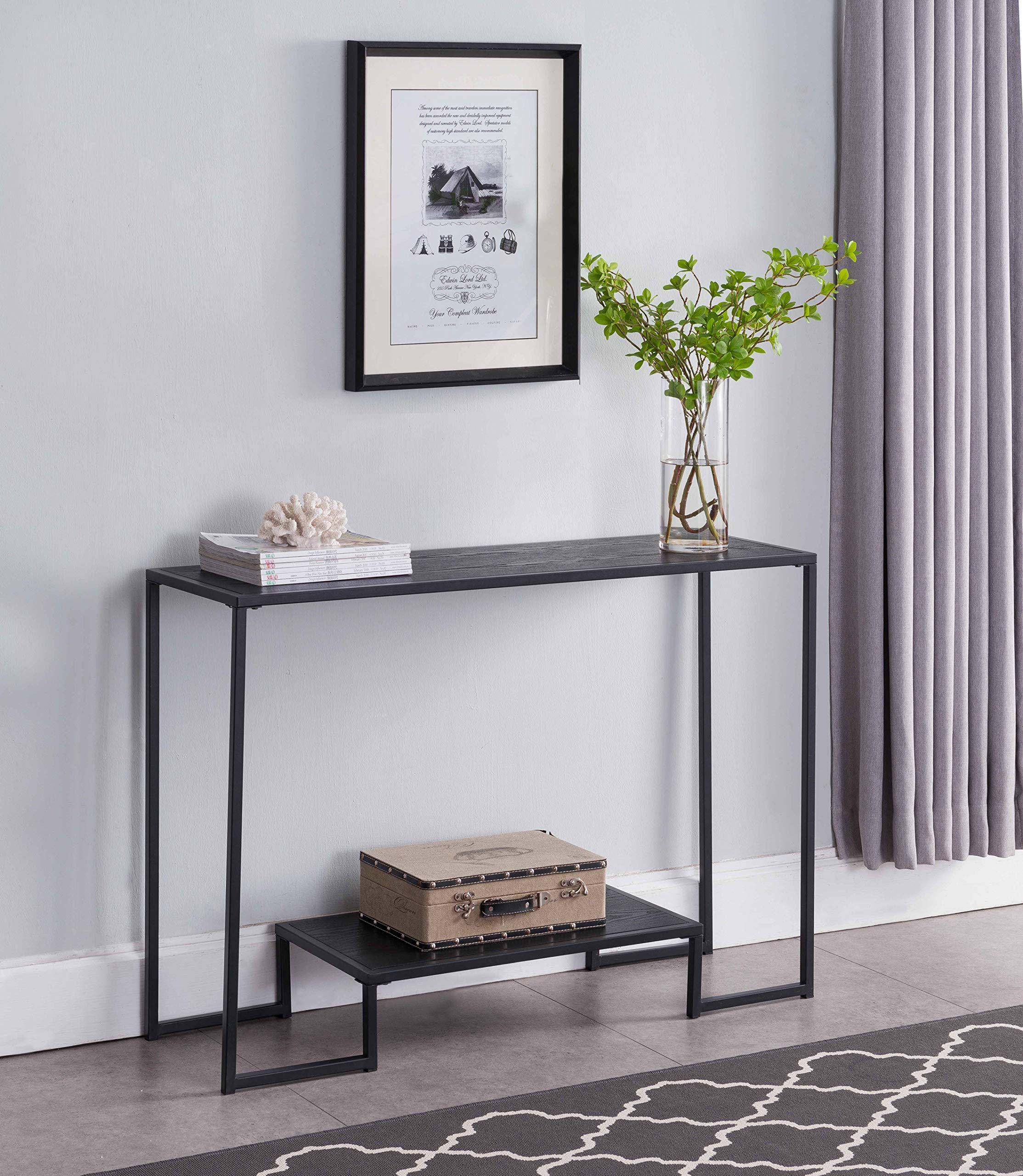 Kings Brand Furniture - Vidal Metal/Wood Sofa Console Table, Black/Grey by Kings Brand Furniture