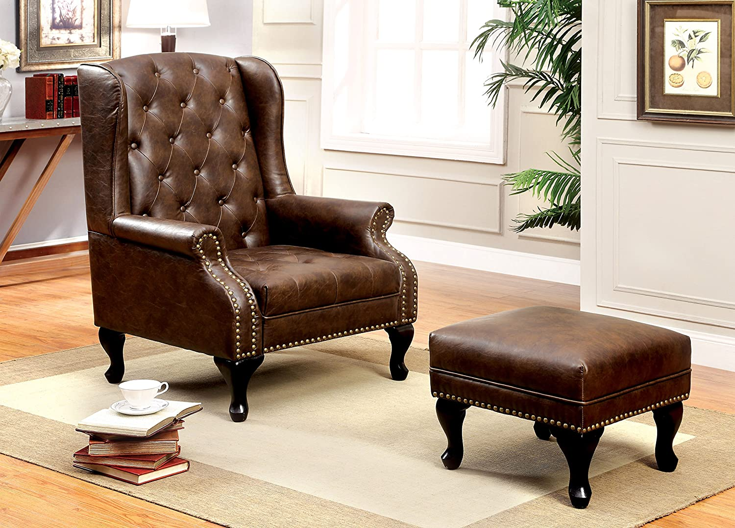 traditional wingback chairs. Amazon.com: Furniture Of America Elmas Traditional Leatherette Wingback Chair, Rustic Brown: Kitchen \u0026 Dining Chairs R