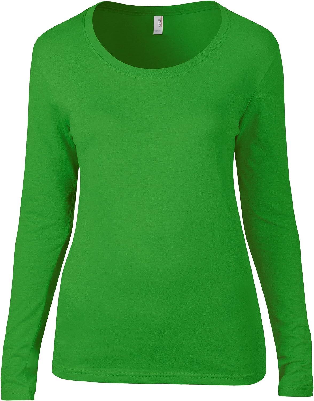 Anvil - Camiseta de manga larga - para mujer verde Manzana Verde extra-large: Amazon.es: Ropa y accesorios