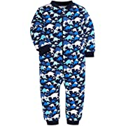 SHENGWEN Baby Footless Striped Camouflage Pajamas Boys Girls 100% Cotton Sleep and Play(3-6 Months) (1 Piece-Dinosaur, 0-3 Months)